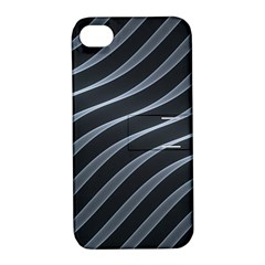 Metal Steel Stripped Creative Apple Iphone 4/4s Hardshell Case With Stand