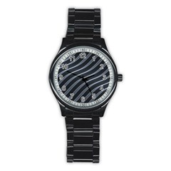 Metal Steel Stripped Creative Stainless Steel Round Watch