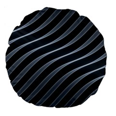 Metal Steel Stripped Creative Large 18  Premium Flano Round Cushions