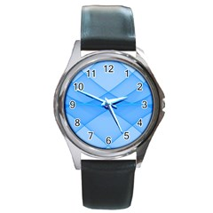 Background Light Glow Blue Round Metal Watch