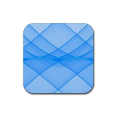 Background Light Glow Blue Rubber Square Coaster (4 Pack)