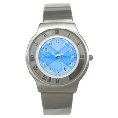 Background Light Glow Blue Stainless Steel Watch