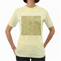 Background Wall Marble Cracks Women s Yellow T Shirt
