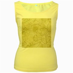 Background Wall Marble Cracks Women s Yellow Tank Top