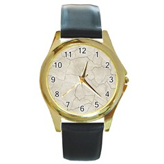 Background Wall Marble Cracks Round Gold Metal Watch