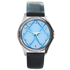 Background Light Glow Blue Round Metal Watch