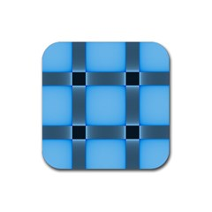 Wall Blue Steel Light Creative Rubber Coaster (square)