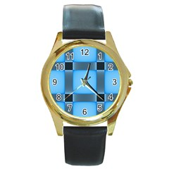 Wall Blue Steel Light Creative Round Gold Metal Watch