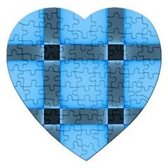 Wall Blue Steel Light Creative Jigsaw Puzzle (heart)