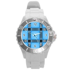Wall Blue Steel Light Creative Round Plastic Sport Watch (l)
