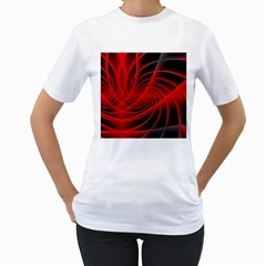 Red Abstract Art Background Digital Women s T Shirt (white) (two Sided)