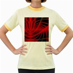 Red Abstract Art Background Digital Women s Fitted Ringer T Shirts