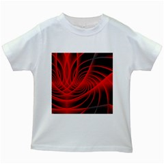 Red Abstract Art Background Digital Kids White T Shirts