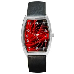Red Abstract Art Background Digital Barrel Style Metal Watch