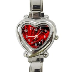 Red Abstract Art Background Digital Heart Italian Charm Watch