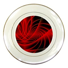 Red Abstract Art Background Digital Porcelain Plates