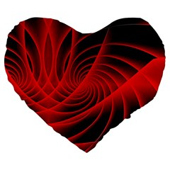 Red Abstract Art Background Digital Large 19  Premium Heart Shape Cushions