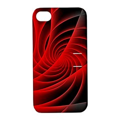 Red Abstract Art Background Digital Apple Iphone 4/4s Hardshell Case With Stand by Nexatart