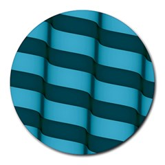Curtain Stripped Blue Creative Round Mousepads