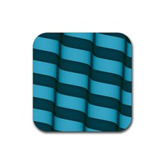 Curtain Stripped Blue Creative Rubber Coaster (square)