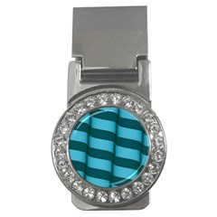 Curtain Stripped Blue Creative Money Clips (cz)