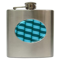 Curtain Stripped Blue Creative Hip Flask (6 Oz)