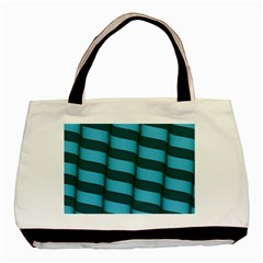 Curtain Stripped Blue Creative Basic Tote Bag