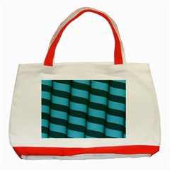 Curtain Stripped Blue Creative Classic Tote Bag (red)