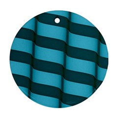 Curtain Stripped Blue Creative Round Ornament (two Sides)