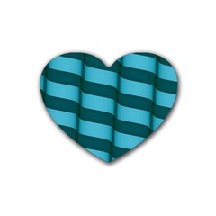 Curtain Stripped Blue Creative Rubber Coaster (heart)