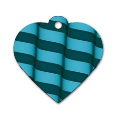 Curtain Stripped Blue Creative Dog Tag Heart (two Sides)