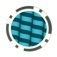 Curtain Stripped Blue Creative Poker Chip Card Guard
