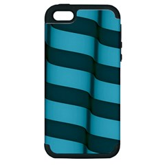 Curtain Stripped Blue Creative Apple Iphone 5 Hardshell Case (pc+silicone)