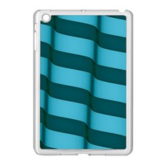 Curtain Stripped Blue Creative Apple Ipad Mini Case (white) by Nexatart