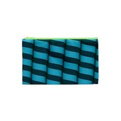 Curtain Stripped Blue Creative Cosmetic Bag (xs)
