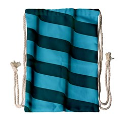 Curtain Stripped Blue Creative Drawstring Bag (large)