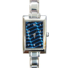 Background Neon Light Glow Blue Rectangle Italian Charm Watch