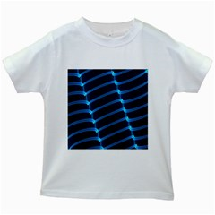 Background Neon Light Glow Blue Kids White T Shirts