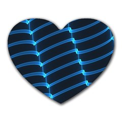Background Neon Light Glow Blue Heart Mousepads