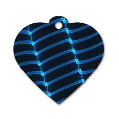 Background Neon Light Glow Blue Dog Tag Heart (two Sides)