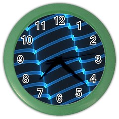Background Neon Light Glow Blue Color Wall Clocks
