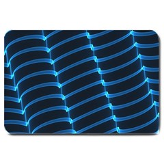 Background Neon Light Glow Blue Large Doormat