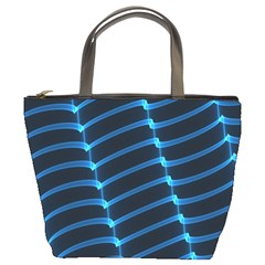 Background Neon Light Glow Blue Bucket Bags