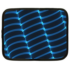 Background Neon Light Glow Blue Netbook Case (xxl)