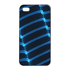 Background Neon Light Glow Blue Apple Iphone 4/4s Seamless Case (black)