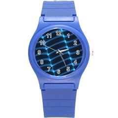Background Neon Light Glow Blue Round Plastic Sport Watch (s)