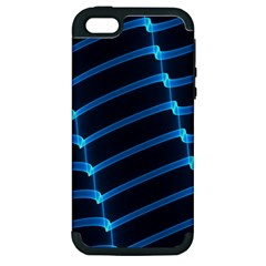 Background Neon Light Glow Blue Apple Iphone 5 Hardshell Case (pc+silicone)