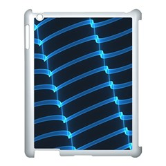Background Neon Light Glow Blue Apple Ipad 3/4 Case (white)