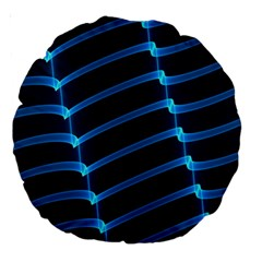 Background Neon Light Glow Blue Large 18  Premium Round Cushions