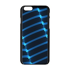 Background Neon Light Glow Blue Apple Iphone 6/6s Black Enamel Case by Nexatart